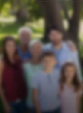 Three generations of family smiling outdoors image blurred